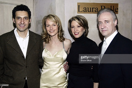 """NEW YORK - MARCH 31:(L-R) John Turturro, Helen Hunt, Linda Emond and Brent Spiner celebrate at the opening night party for """"Life (X) 3"""" at Laura Belle on March 31, 2003 in New York City. (Photo by Bruce Glikas/Getty Images)"""