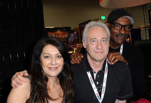 "SAN DIEGO, CA - JULY 17: Actress Marina Sirtis, actor Brent Spiner and actor Michael Dorn of ""Star Trek: The Next Generation"" sign autographs at the LightSpeed Booth at the 2013 Comic-Con International's - Preview Night held at San Diego Convention Center on Wenesday July 17, 2012 in San Diego, California. (Photo by Albert L. Ortega/Getty Images)"